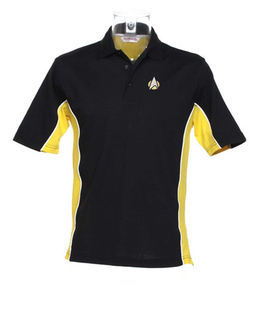STARTREK STARFLEET logo Polo - Black with Yellow & White - SustainTheFuture - 4