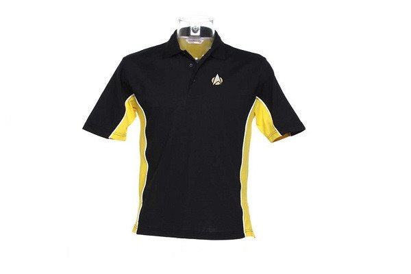 STARTREK STARFLEET logo Polo - Black with Yellow & White - SustainTheFuture - 1