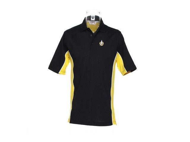 STARTREK STARFLEET logo Polo - Black with Yellow & White - SustainTheFuture - 2