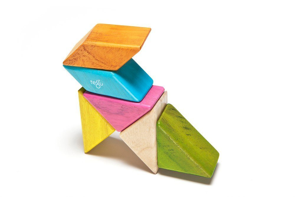 6 Piece Tegu Pocket Pouch Prism Magnetic Wooden Block Set, Tints Brilliantly simple and premium heirloom - SustainTheFuture - 3