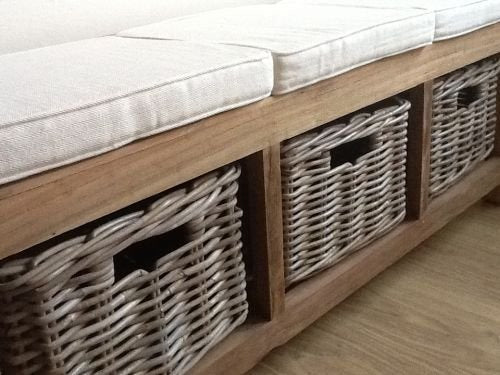 Reclaimed Teak hall seat with shoe storage, three natural wicker basket drawers - SustainTheFuture - 3