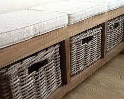 Reclaimed Teak hall seat with shoe storage, three natural wicker basket drawers - SustainTheFuture - 2