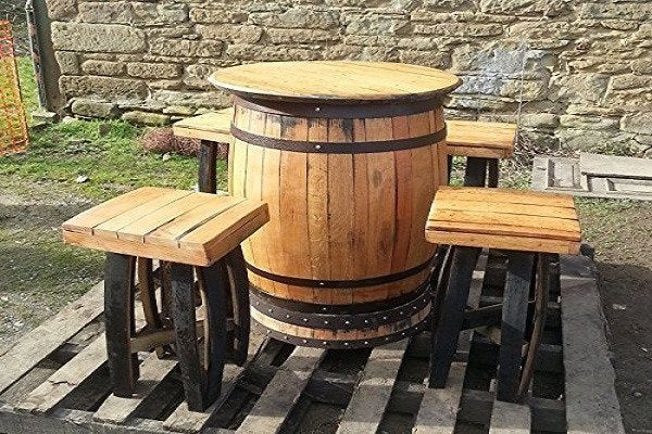 Recycled Solid Oak Whiskey Barrel Bar Table and 4 Stools. Made from genuine recy - SustainTheFuture - 1
