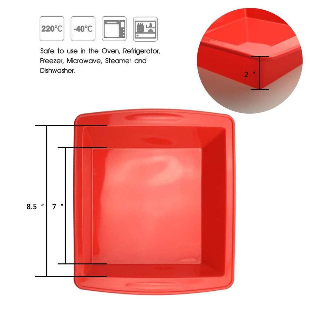 "Cake Bakeware,Silivo 1.5"" Deep Silicone Cake Moulds Square Baking Moulds - SustainTheFuture - 4"