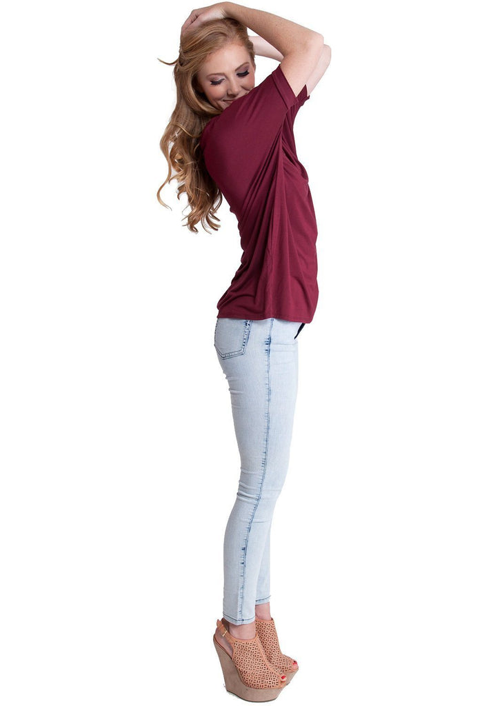 Ladies Burgundy Bamboo Fiber Round Neck Short Sleeve Dolman Top - Body Blouse - SustainTheFuture - 3
