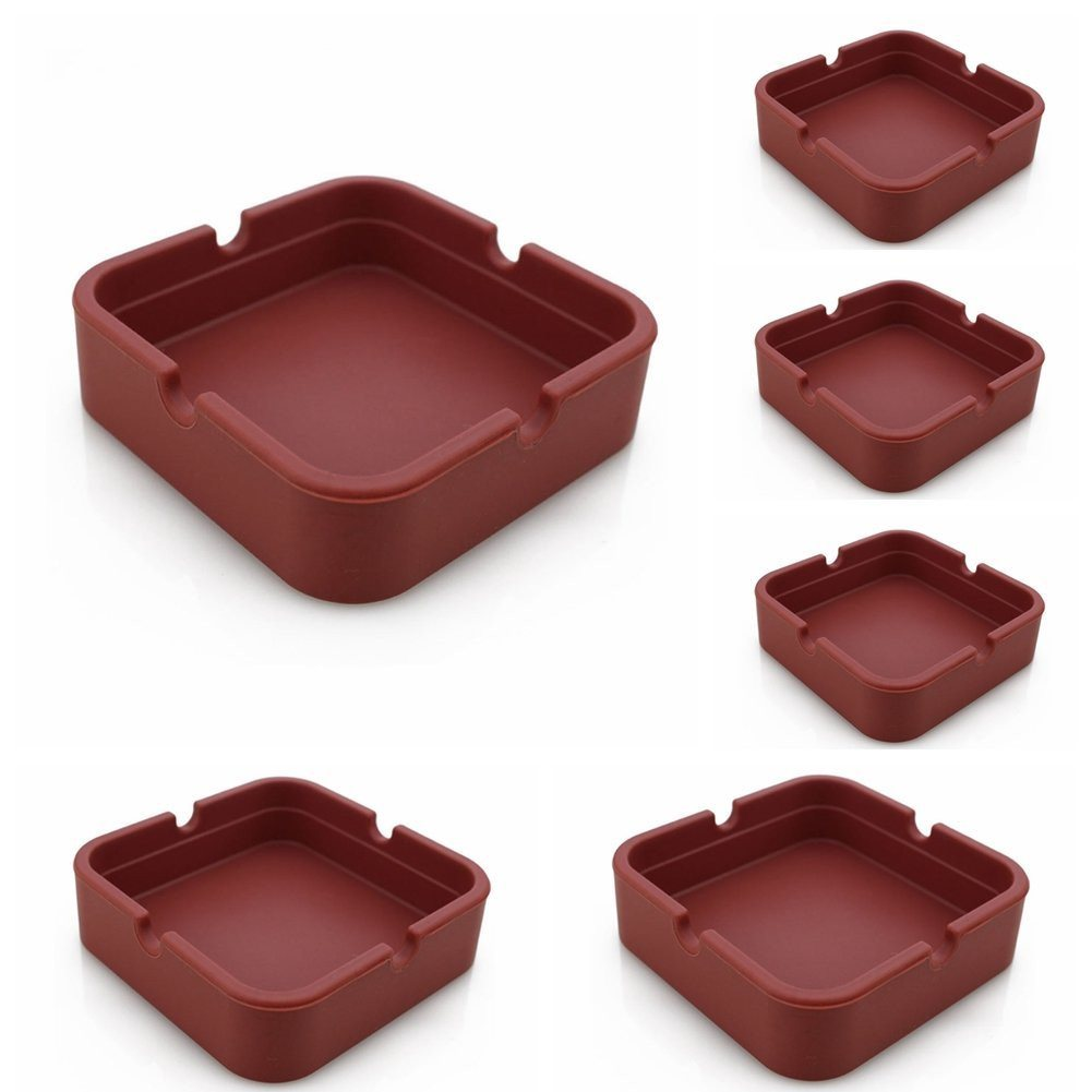 New Life Eco-Friendly Colorful 6PCS Silicone Ashtray (Red-8.3x.3x2.5cm) Bendable - SustainTheFuture - 6