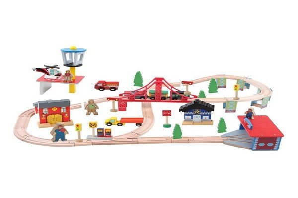 Kosee Wooden Railway Station 70 Pieces Train Set Compatible with Wooden Expansio - SustainTheFuture - 1