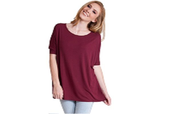 Ladies Burgundy Bamboo Fiber Round Neck Short Sleeve Dolman Top - Body Blouse - SustainTheFuture - 1