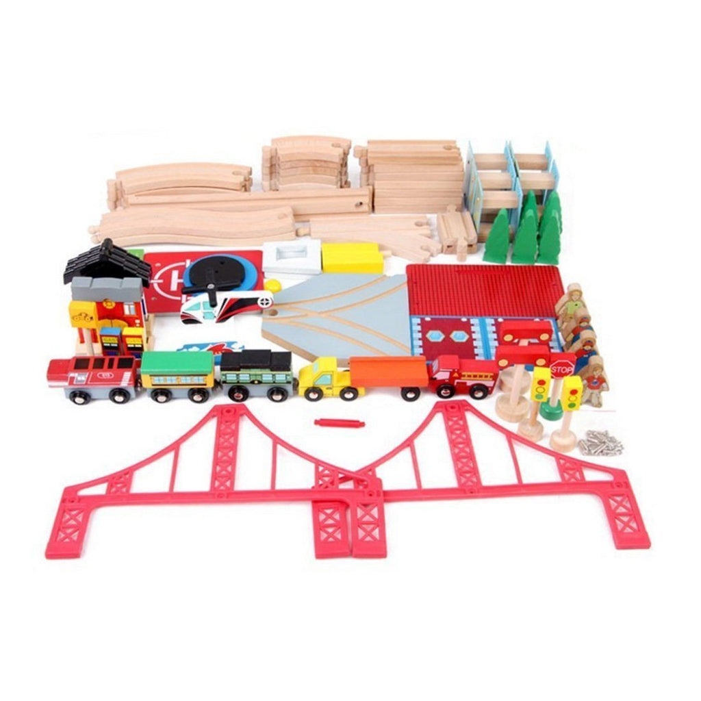 Kosee Wooden Railway Station 70 Pieces Train Set Compatible with Wooden Expansio - SustainTheFuture - 2