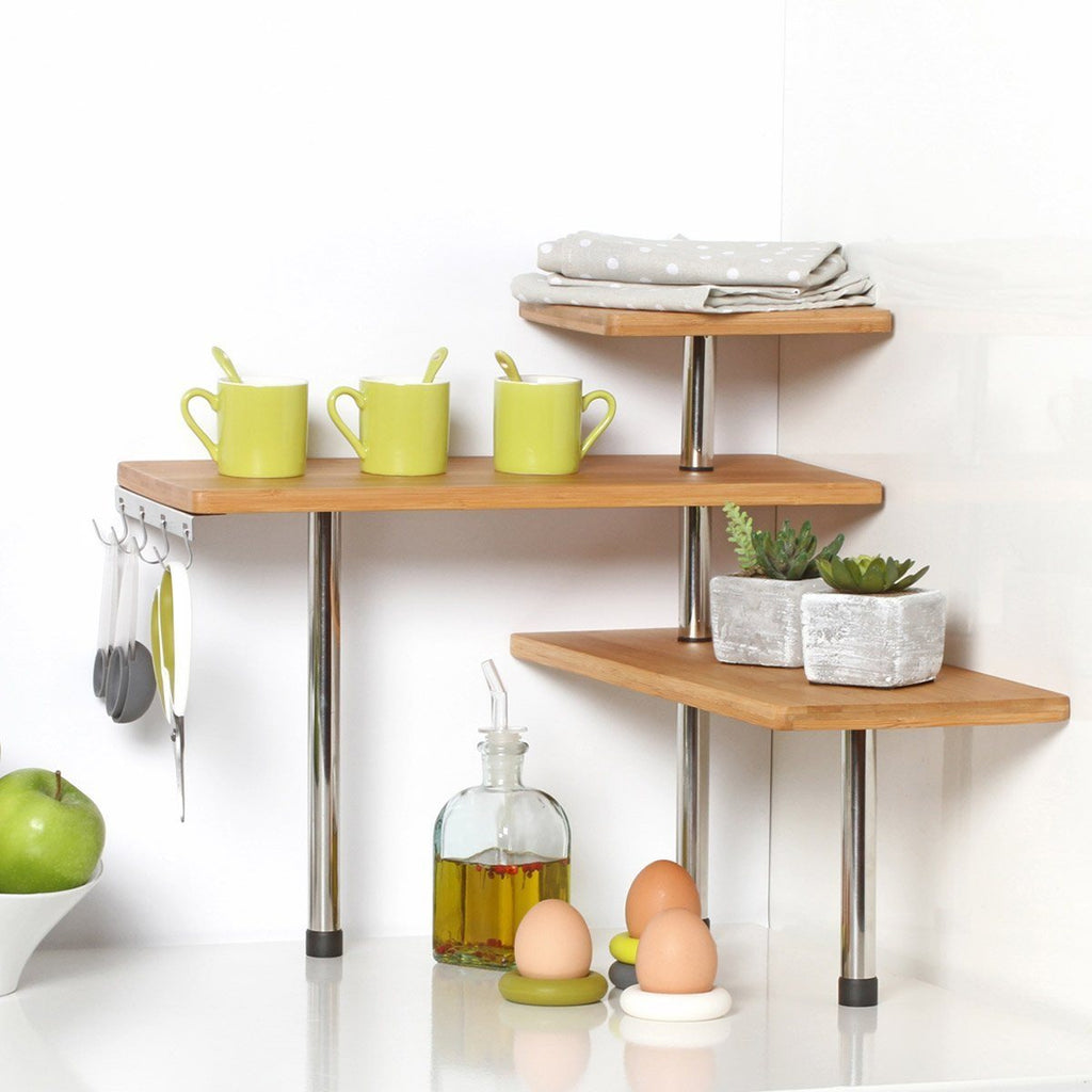 Bamboo and Stainless Steel Corner Shelf Unit - Kitchen - Bathroom - Desktop - Pe - SustainTheFuture - 2