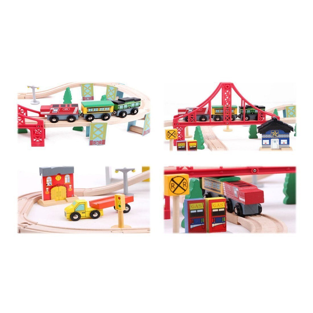 Kosee Wooden Railway Station 70 Pieces Train Set Compatible with Wooden Expansio - SustainTheFuture - 3