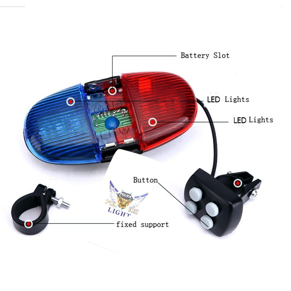 iEpoch Cycling Bike Electric Horn [4 Sounds] Bicycle Police Siren Bell [6 LED Lights] - SustainTheFuture - 3