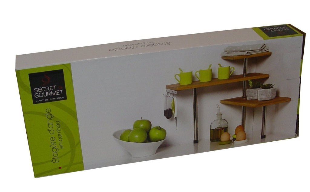 Bamboo and Stainless Steel Corner Shelf Unit - Kitchen - Bathroom - Desktop - Pe - SustainTheFuture - 3