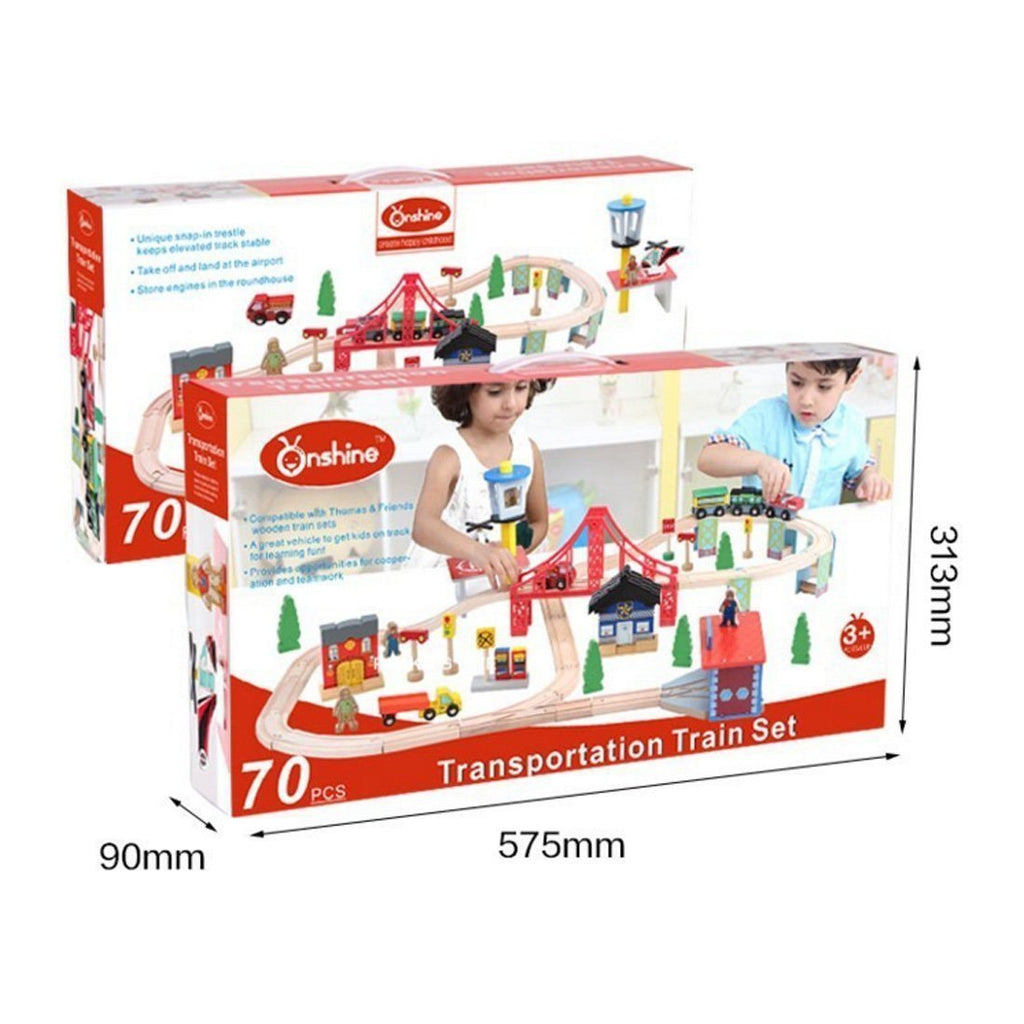 Kosee Wooden Railway Station 70 Pieces Train Set Compatible with Wooden Expansio - SustainTheFuture - 4