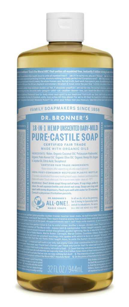 Dr Bronners Organic Baby-Mild Castile Liquid Soap 1Litre contains Glycerin - SustainTheFuture - 2