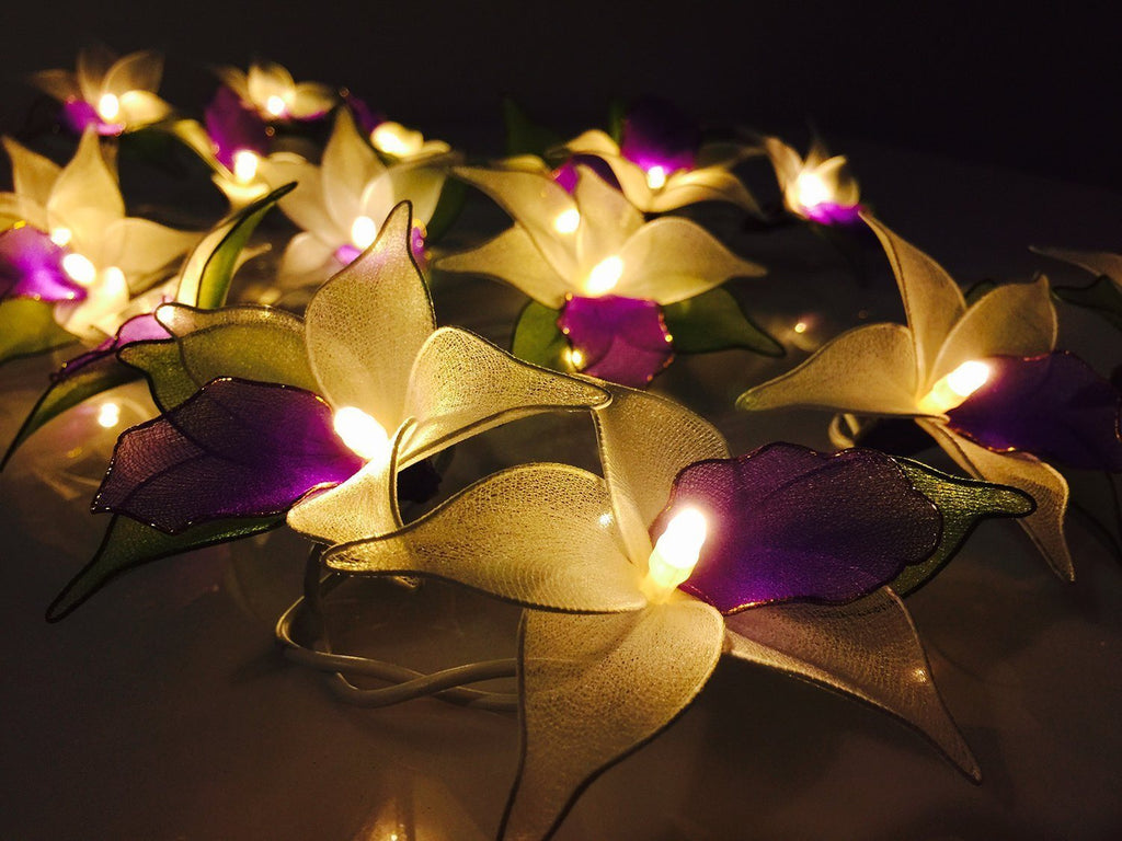 Purple Orchid Flower Battery Operated LED Fairy Lights By Flowerglow - Energy Ef - SustainTheFuture - 6