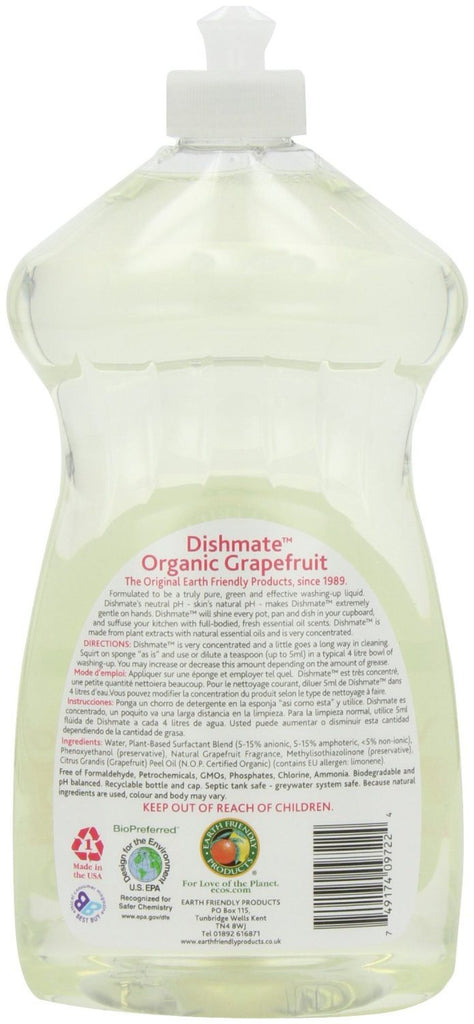 Earth Friendly Products Grapefruit Dishmate Washing Up Liquid 750 ml (Pack of 2) - SustainTheFuture - 4