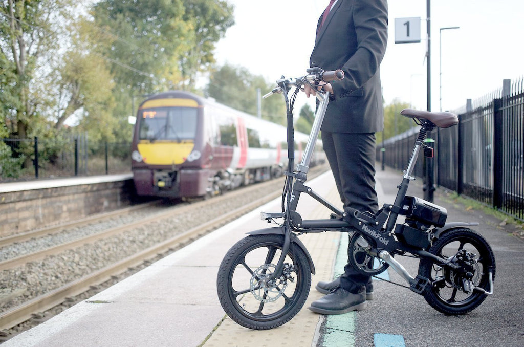 KwikFold Xite City Folding Electric Bike (Black). With a special design allowing for easy carry - SustainTheFuture - 2