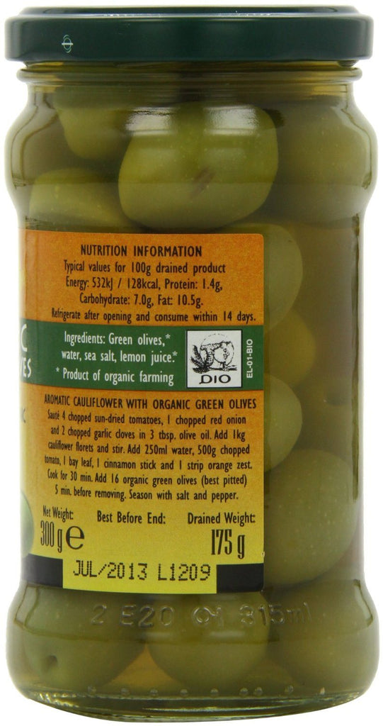 Gaea Organic Olympian Green Olives 300 g (Pack of 4) - Organically grown and pro - SustainTheFuture - 3