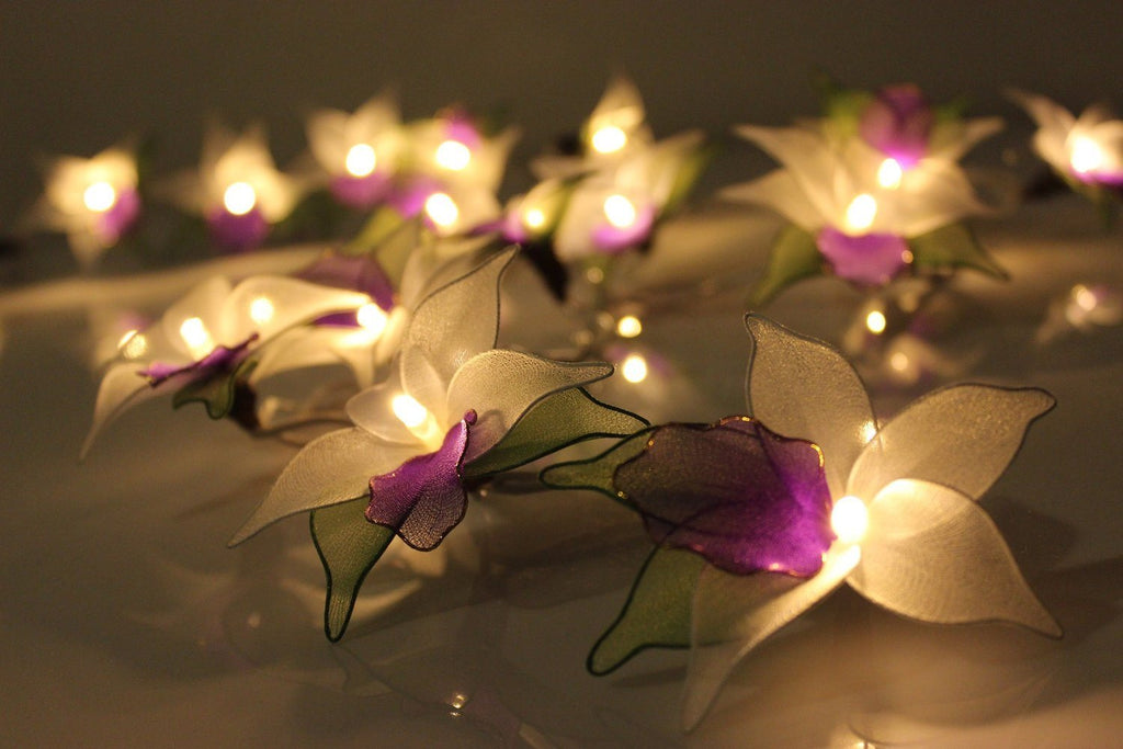 Purple Orchid Flower Battery Operated LED Fairy Lights By Flowerglow - Energy Ef - SustainTheFuture - 7