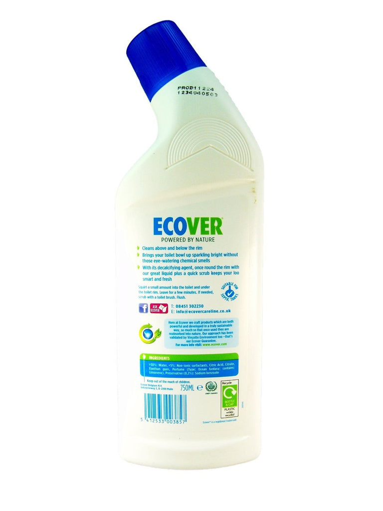Ecover Toilet Cleaner Ocean Waves 750ml. Bottle - Plastic - Widely Recycled; Cap - SustainTheFuture - 3