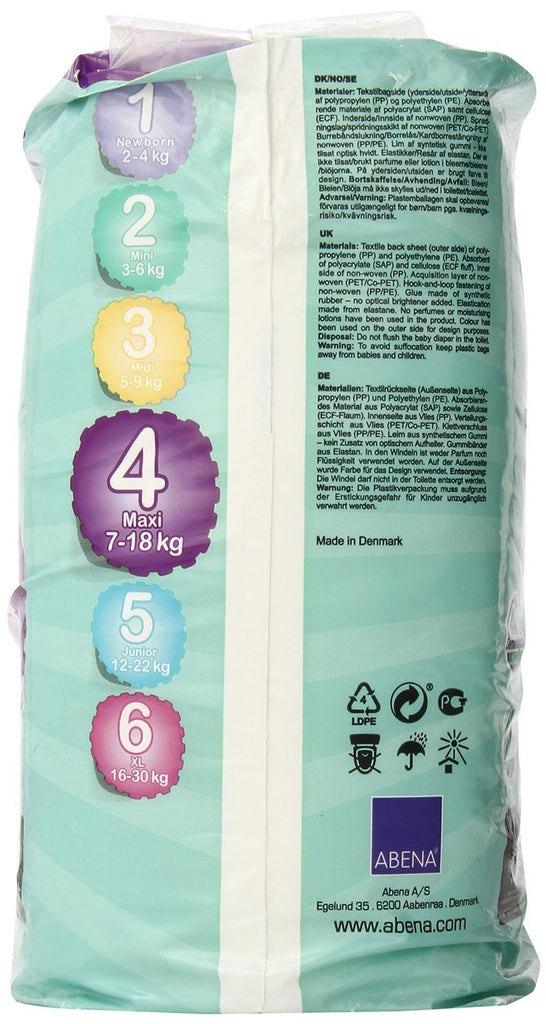Abena Maxi Bambo Nature Baby Nappies weighing 7-18kg - Pack of 30 - Environmentally friendly - SustainTheFuture - 7
