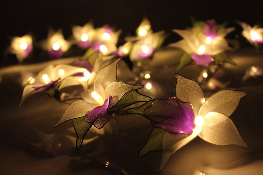 Purple Orchid Flower Battery Operated LED Fairy Lights By Flowerglow - Energy Ef - SustainTheFuture - 5