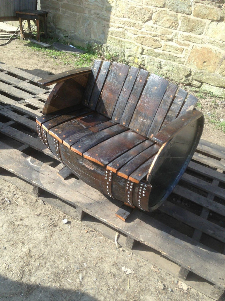 Recycled Rustic Oak Whisky Barrel Bench. Suitable for indoor or outdoor use - SustainTheFuture - 2
