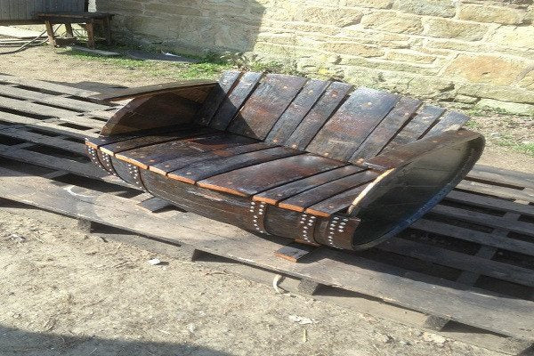 Recycled Rustic Oak Whisky Barrel Bench. Suitable for indoor or outdoor use - SustainTheFuture - 1