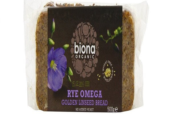 Biona Rye Omega 3 Golden Linseed Organic Bread 500 g (Pack of 6) - crammed full - SustainTheFuture - 1