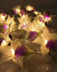 Purple Orchid Flower Battery Operated LED Fairy Lights By Flowerglow - Energy Ef - SustainTheFuture - 3