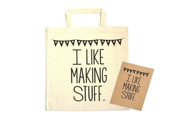 I Like Making Stuff Gift Set - Craft Project Tote Bag & Recycled Notebook - SustainTheFuture - 1