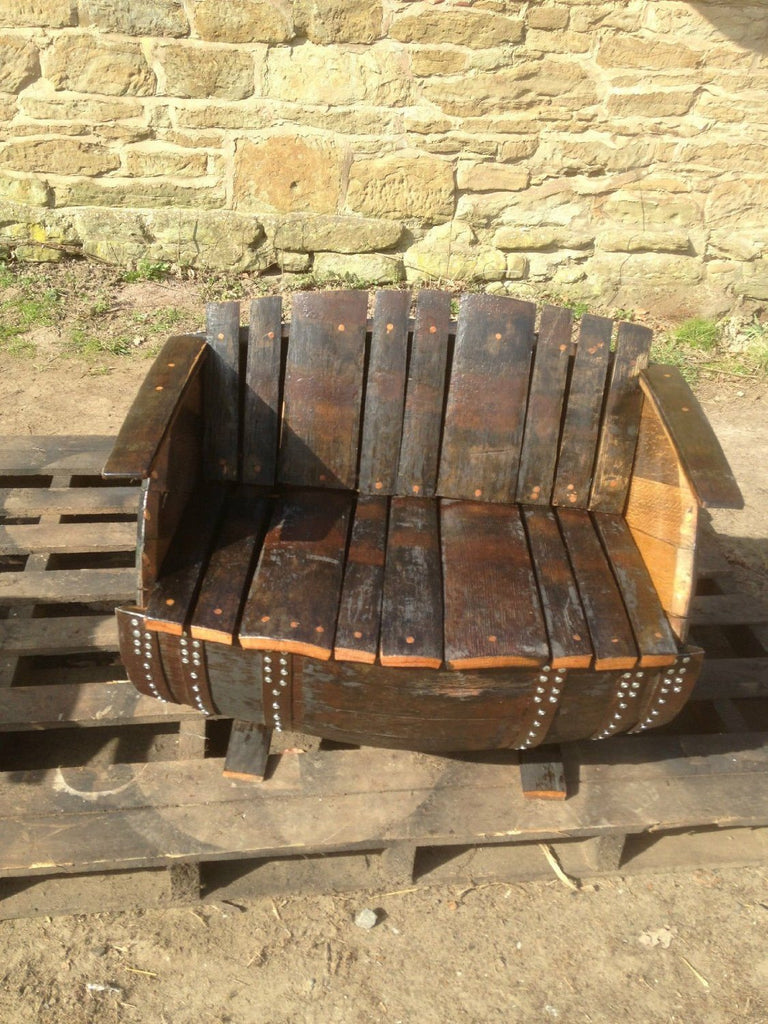 Recycled Rustic Oak Whisky Barrel Bench. Suitable for indoor or outdoor use - SustainTheFuture - 4