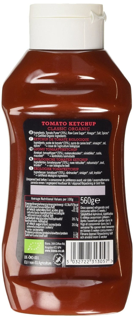Biona Organic Classic Squeezy Ketchup 560 g (Pack of 4) -  70% organic tomatoes, - SustainTheFuture - 3