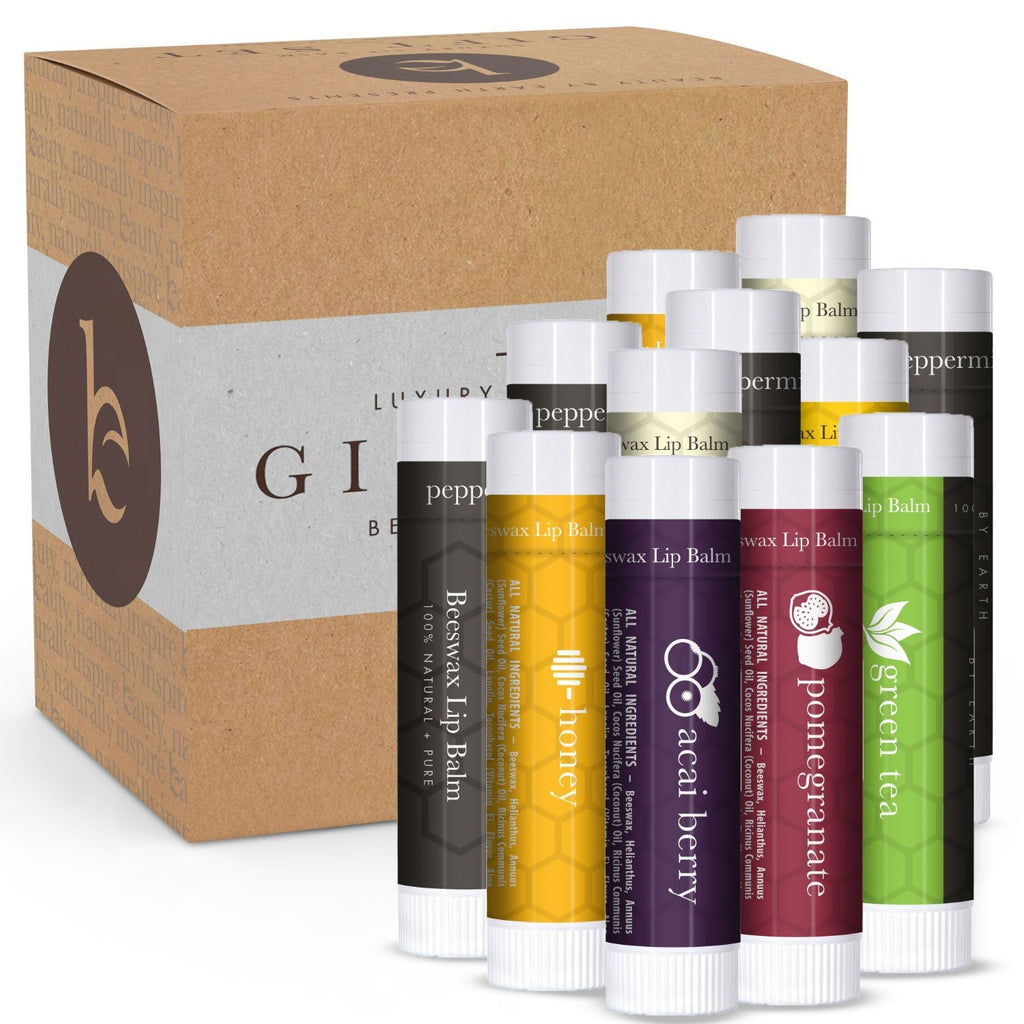 Lip Balm Gift Set - Pack of 12 Tubes of Beauty by Earth's Best Selling Beeswax L - SustainTheFuture - 3