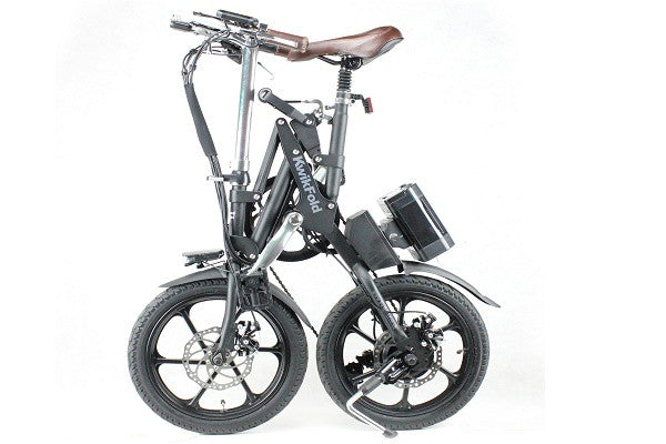 KwikFold Xite City Folding Electric Bike (Black). With a special design allowing for easy carry - SustainTheFuture - 1