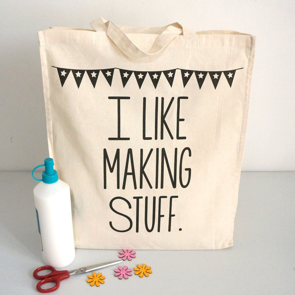 I Like Making Stuff Gift Set - Craft Project Tote Bag & Recycled Notebook - SustainTheFuture - 5