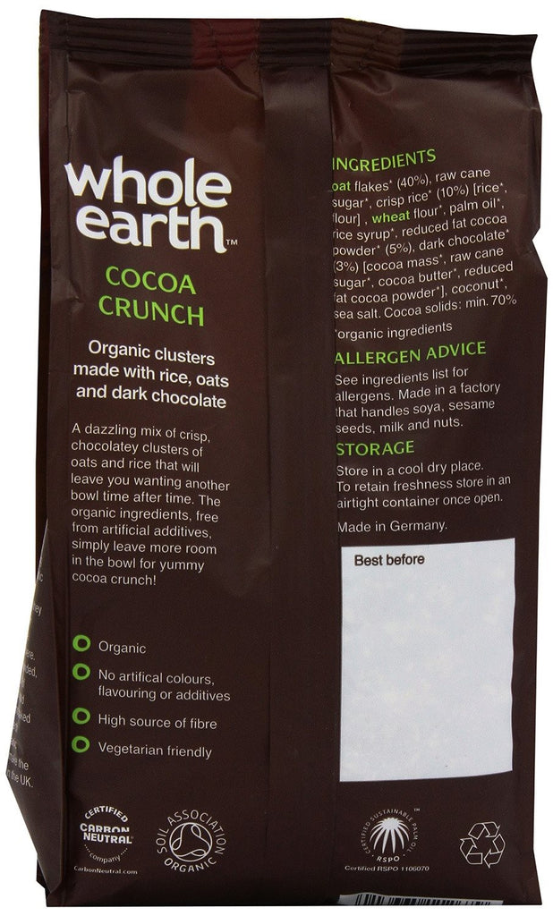 Whole Earth Organic Cocoa Crunch 375 g (Pack of 3) Totally organic and totally tasty, A bowl of crisp, chocolate clusters of oats and rice - SustainTheFuture - 3