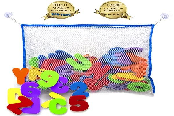 Bath Letters And Numbers With Bath Toy Organizer. The Best Educational Bath Toys - SustainTheFuture - 1
