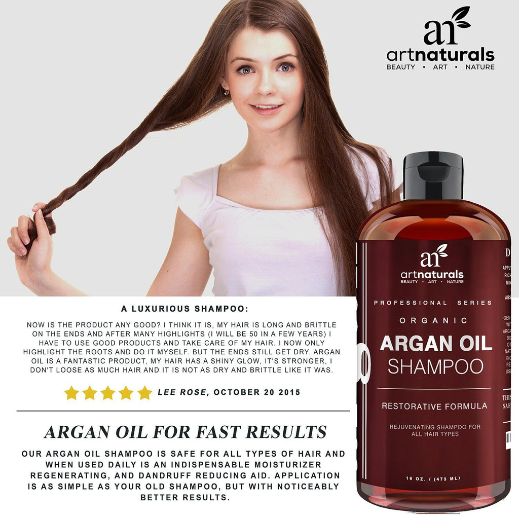 Art Naturals Organic Daily Argan Oil Shampoo 473ml - Best Moisturizing, Volumizi - SustainTheFuture - 3