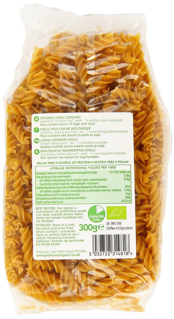 Profusion Organic Gluten Free Chick Pea Fusilli Pasta 300 g (Pack of 6) Great source of protein and fiber, Easy to cook with a good texture - SustainTheFuture - 2