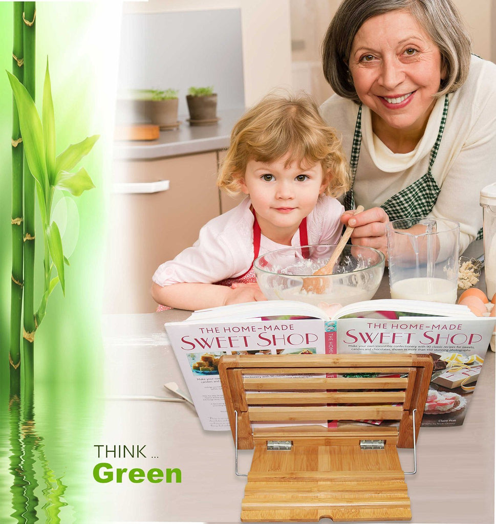 Eco Friendly | Premium Quality Bamboo Cookbook Stand | Perfect Reading Rest For - SustainTheFuture - 6