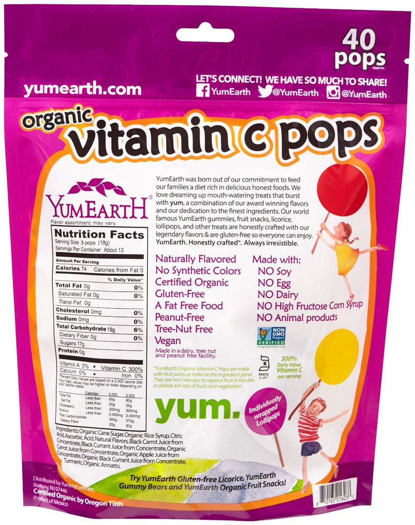 Yummy Earth YumEarth Organics Vitamin C Lollipops, 8.5 Ounce,  Imported from USA, Package Includes : 1 Each - SustainTheFuture - 2