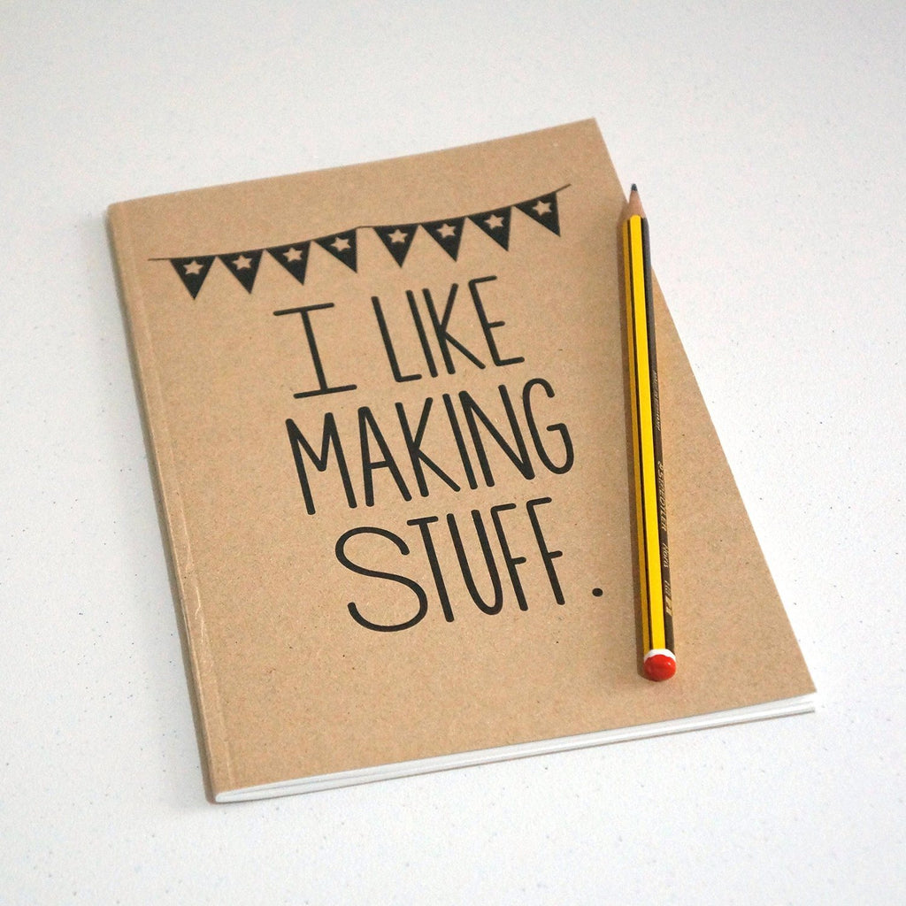 I Like Making Stuff Gift Set - Craft Project Tote Bag & Recycled Notebook - SustainTheFuture - 3