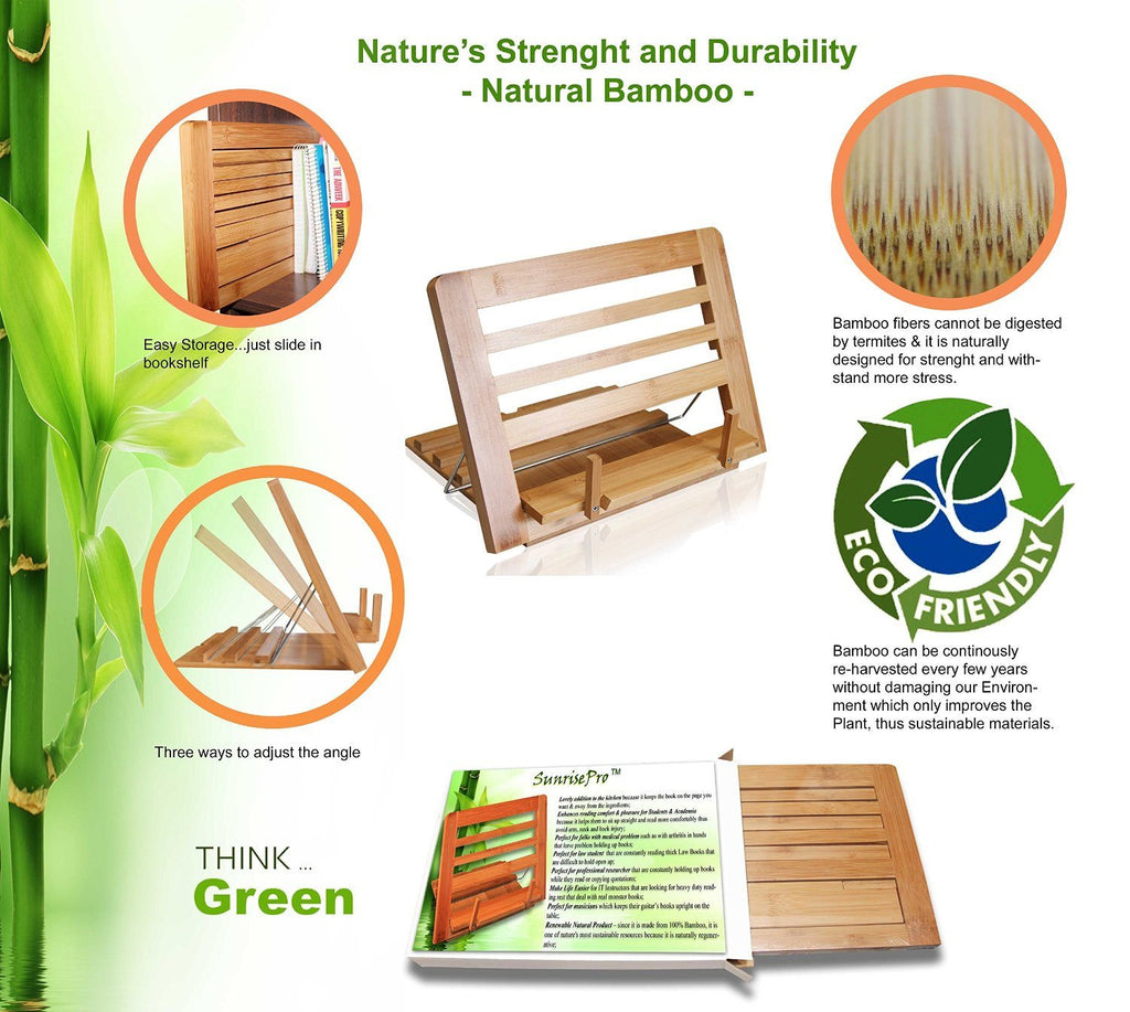 Eco Friendly | Premium Quality Bamboo Cookbook Stand | Perfect Reading Rest For - SustainTheFuture - 3