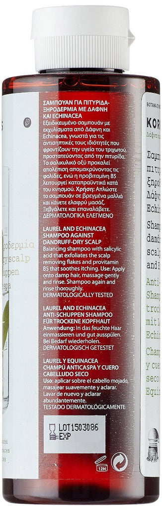 KORRES Shampoo Laurel and Echincea for Dry Scalps and Dandruff 250 ml - exfoliat - SustainTheFuture - 2
