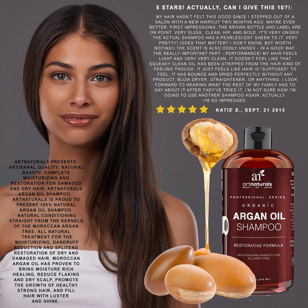 Art Naturals Organic Daily Argan Oil Shampoo 473ml - Best Moisturizing, Volumizi - SustainTheFuture - 9