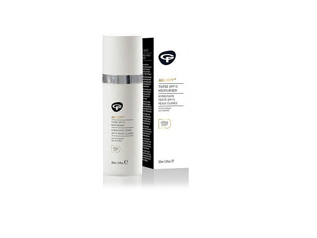 Green People Age Defy+ Tinted DD Moisturiser SPF 15. Natural Earth Mineral pigments adapt - SustainTheFuture - 1