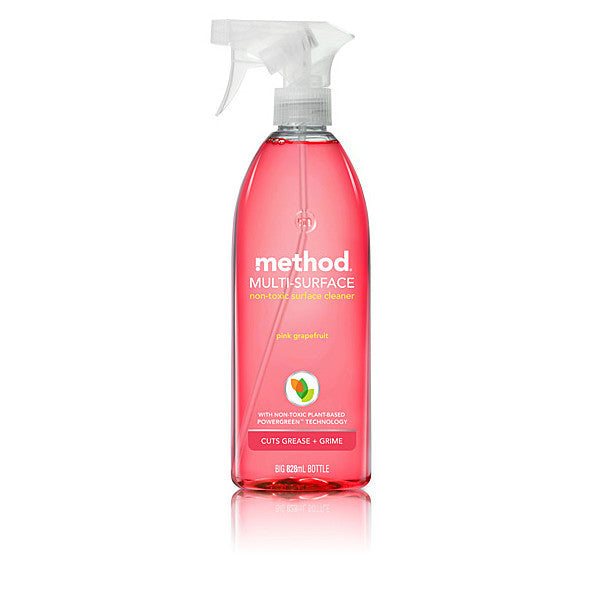 Method Multi Surface Spray - Pink Grapefruit. Corn-based cleaning salt binds to dirt to wipe it away - SustainTheFuture - 2