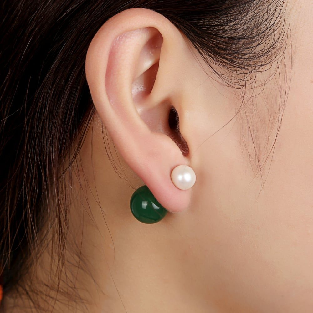 Almight glory vert Earring. White cultured pearl and Malaysian jade doube sided Pearl Earring stud - SustainTheFuture - 3